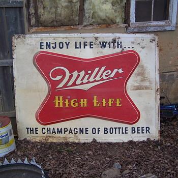 1954 MILLER HIGH LIFE metal signs UPDATE - Breweriana