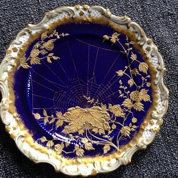 Unusual Handpainted Blue & Gold Spiderweb Adderley Plates - China and Dinnerware