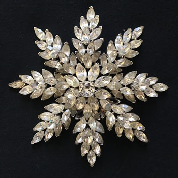 Crown Trifari Snowflake Brooch - Costume Jewelry