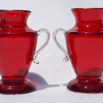 Two tiny handled ruby vases - marked Czechoslovakia - Art Glass