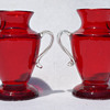 Two tiny handled ruby vases - marked Czechoslovakia