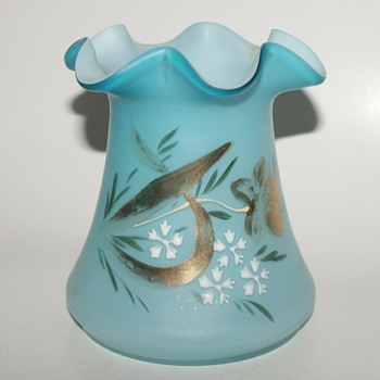Ruffled, Enameled, and Cased Glass Vase - Art Glass