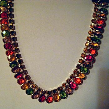 VINTAGE Sparkling Swarovski multi-color BEZEL SET Crystal Collar Necklace - Costume Jewelry