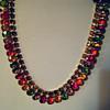 VINTAGE Sparkling Swarovski multi-color BEZEL SET Crystal Collar Necklace