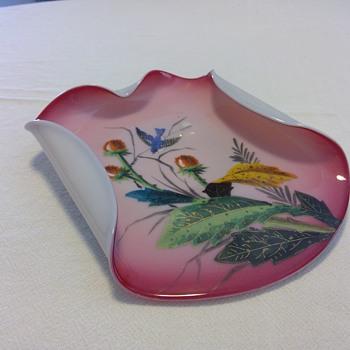 Bohemian Decorated Dish - Art Glass