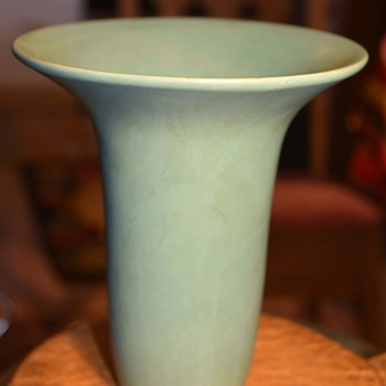 Large Matte Blue Art Pottery Vase - unsigned - Pottery