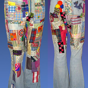 NY artist JACQUELINE FOGEL's vintage 1960s /early 1970s Hippie Patchwork Jeans - Folk Art