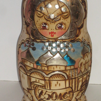 Wooden Box/Doll hand painted - Dolls