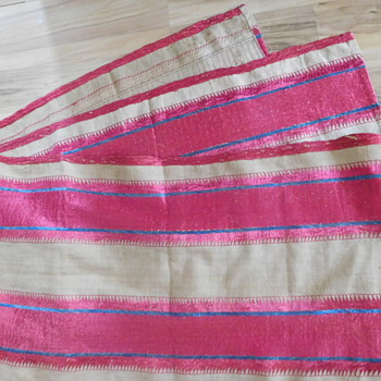 Old Hand Stitched Textile.  Help identify.  Cranberry and blueberry Silk.