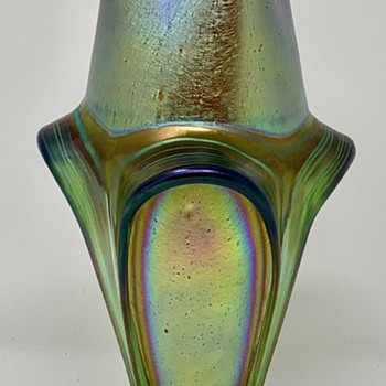 Loetz Candia Silberiris with Applied Bands/Pulled Feet,  PN Unknown, ca. 1902 - Art Glass