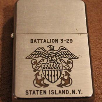 1950's Zippo Lighter Battalion 3-29 Staten Island NY - Tobacciana
