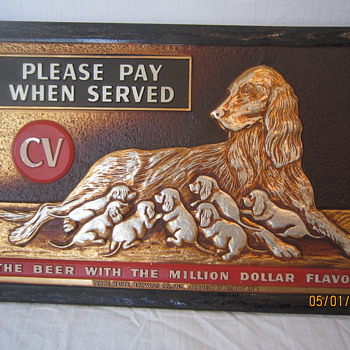 1951 Rare CV Champagne Velvet Tin Composite Please Pay When Served Million Dollar Beer Sign Irish Setter Dogs Terre Haute Ind - Breweriana