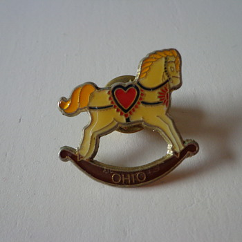 Vintage Rocking Horse Ohio Pin - Medals Pins and Badges