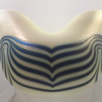 Charles Lotton Opal Vase with Blue Luster Wave Decoration, 1972