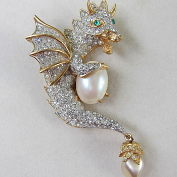 Dragon Brooch by Kenneth Jay Lane - Costume Jewelry