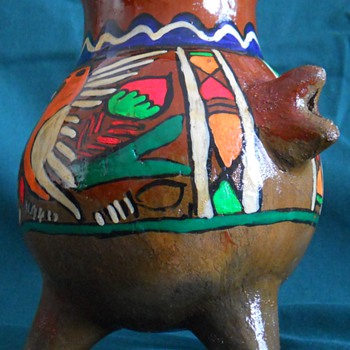 Mexican? Redware/Terra Cotta  Hand Painted Three Legged Pot