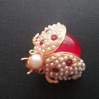 Hattie Carnegie ladybug pin  - Costume Jewelry