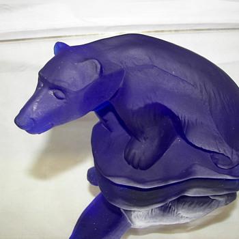 Murano Guido Ferro Blue Polar Bear  - Art Glass