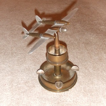 P-38 Trench art ashtray from WW2 - Military and Wartime