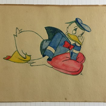 Donald Duck Water Color Drawing Unknown Artist - Fine Art