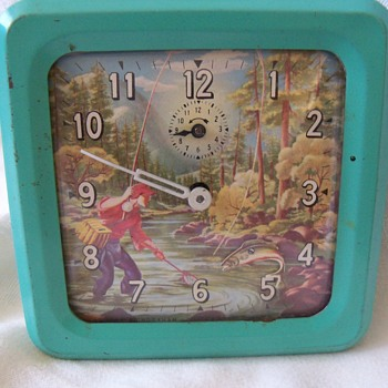 Vintage Animated Fly Fisherman Alarm Clock - Ingraham Co. - Clocks