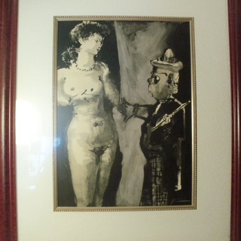 """Pencil signed Picasso, """"The Artist and His Model"""" - Posters and Prints"""