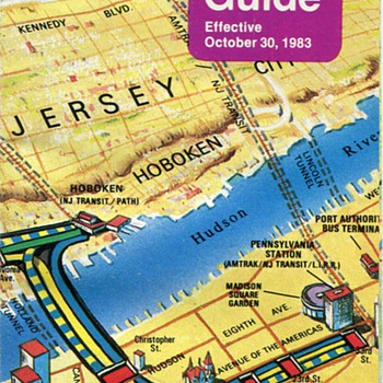 1983 Port Authority Trans Hudson (PATH) Map and Guide - Railroadiana