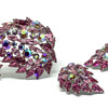 Sherman Pink Paisley Brooch & Earrings
