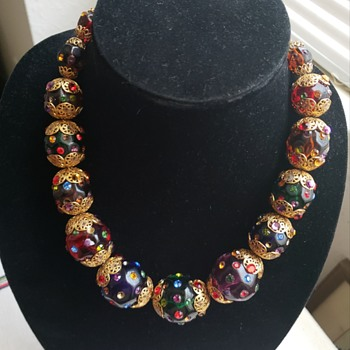 Vintage Lucite Rhinestone Necklace - Costume Jewelry