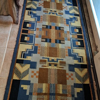 "Vintage MCM or ""Deco"" Style Area Rug in Need of Restoration - Rugs and Textiles"