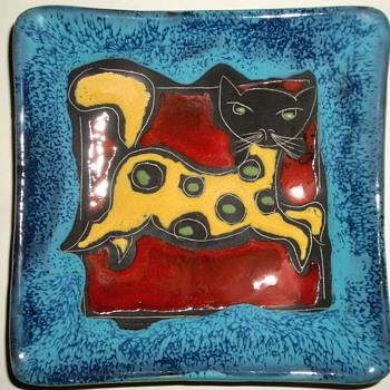 Marmaca Spotted Cat Kitten - Italian Pottery - San Marino - Pottery