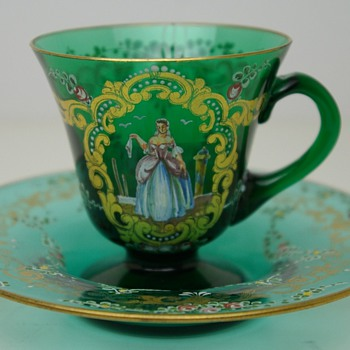 I need help identifying this beautiful green glass bohemian tea cup - Glassware