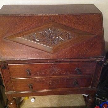 Antique carved pull top desk
