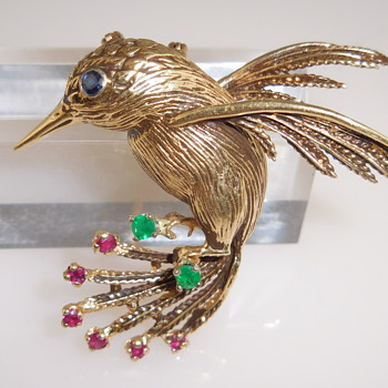 14k Gold Hummingbird Pendant/Brooch with Rubies, Emeralds, and Sapphire - Fine Jewelry