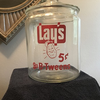 Lays potato chips glass jar  - Advertising