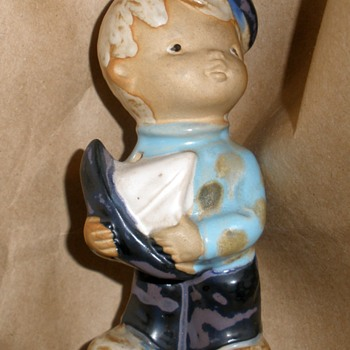 1970's Boy with Sailboat Stoneware Figurine Mystery Maker! - Figurines