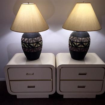 Mid Century Art Deco Plaster Table Lamps on Vladimir Kagan Nightstands - Lamps
