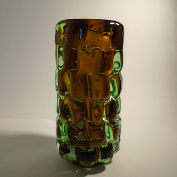 Skrdlovice glassworks -- Frantisek Vizner 7117 'toffee' art glass vase in brown and green -- Czech art glass - Art Glass