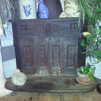Americana Cast Iron Wood Burning Stove with Eagle and Stars - Kitchen