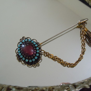 Hobe Pin, Copper with Tassel...1950's or 60's? - Costume Jewelry