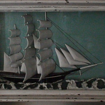 Ship Diorama By William H. Jones 1926 Conduit Maine - Fine Art