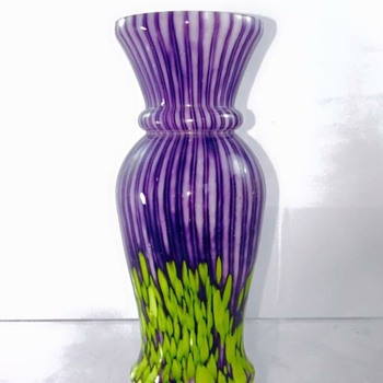 Welz Purple Yellow Stripes & Spots Vase - Art Glass