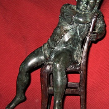 Bronze Sculpture Of Little Boy Asleep On Chair - Art Deco