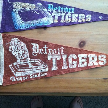 Need help identifing 2 Vintage Detriot Tigers Pennants