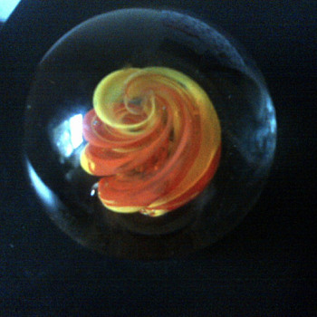 "Large Glass Paperweight ORANGE/YELLOW Ribbon/Swirl MARKED "".S."" Any idea what the mark is???? - Art Glass"