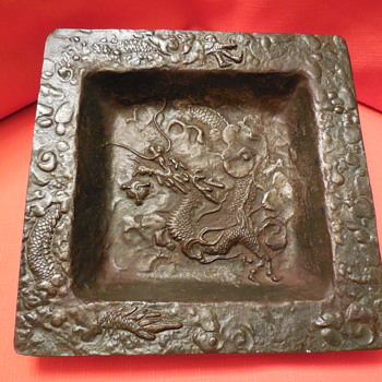 Vintage Cast Iron Square Japanese Dragon Tray - Asian