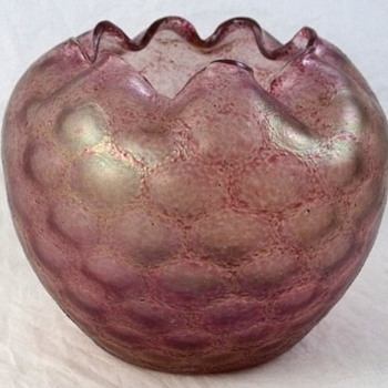 Rindskopf Pink Honeycomb Optic Rose Bowl - Art Glass