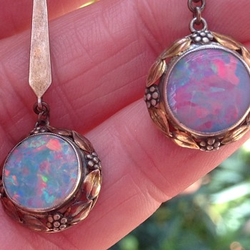 Bernard Instone Silver, Opal drop earrings - Arts and Crafts