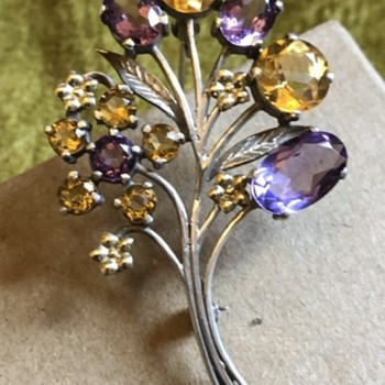 Arts and crafts brooch Amethyst and Citrine - Arts and Crafts