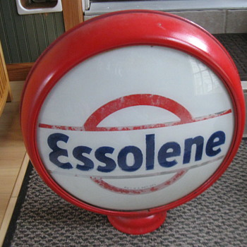 ESSOLENE GAS PUMP GLOBE, OLD 1930's ORIGINAL - Petroliana
